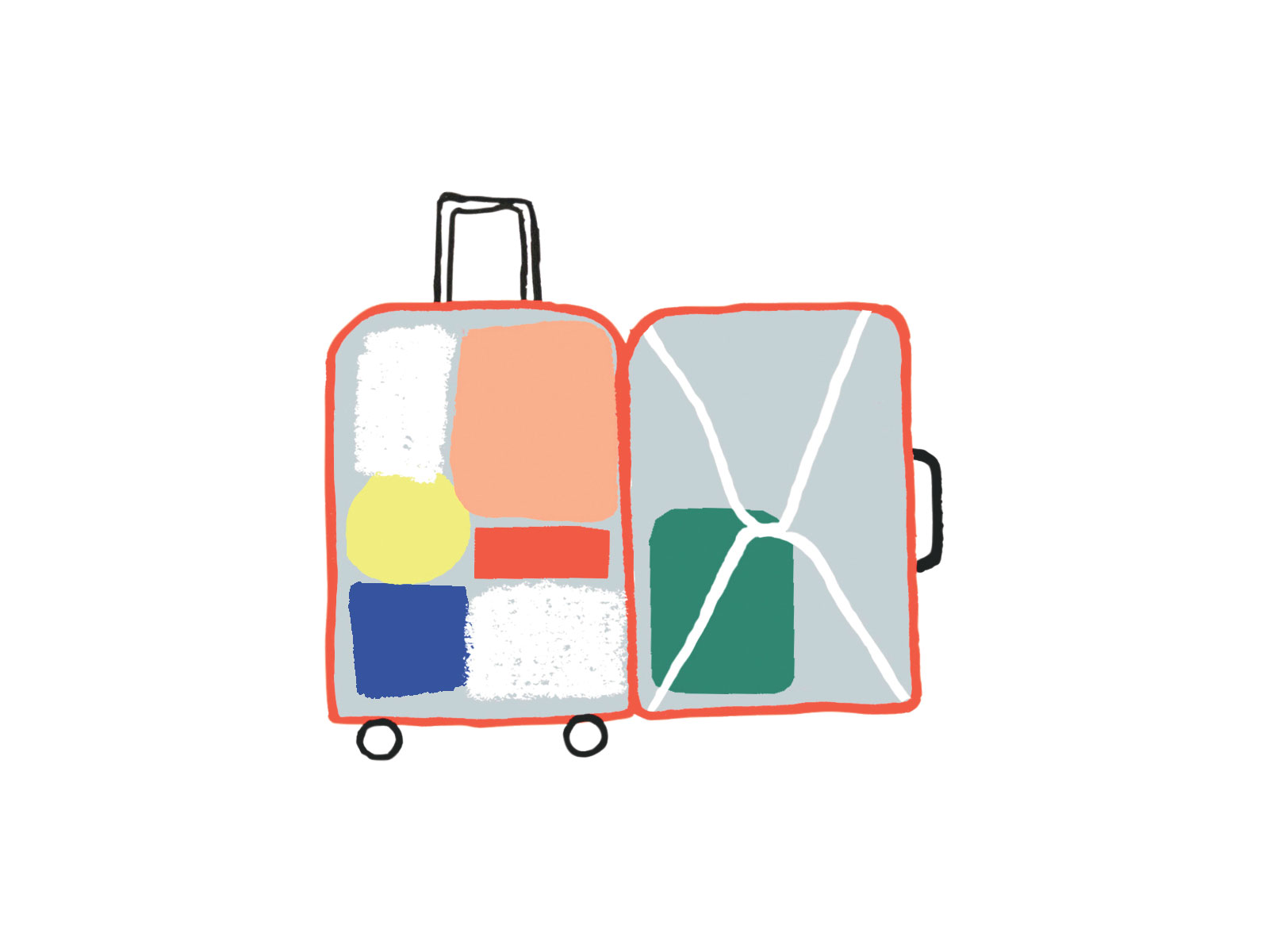 Illo: Packed carry-on suitcase
