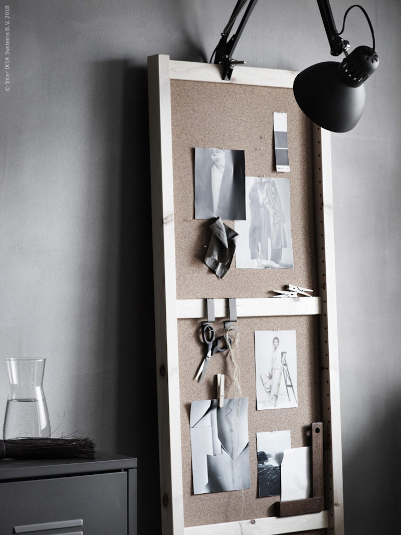 IKEA Ivar message board, with magazine clippings