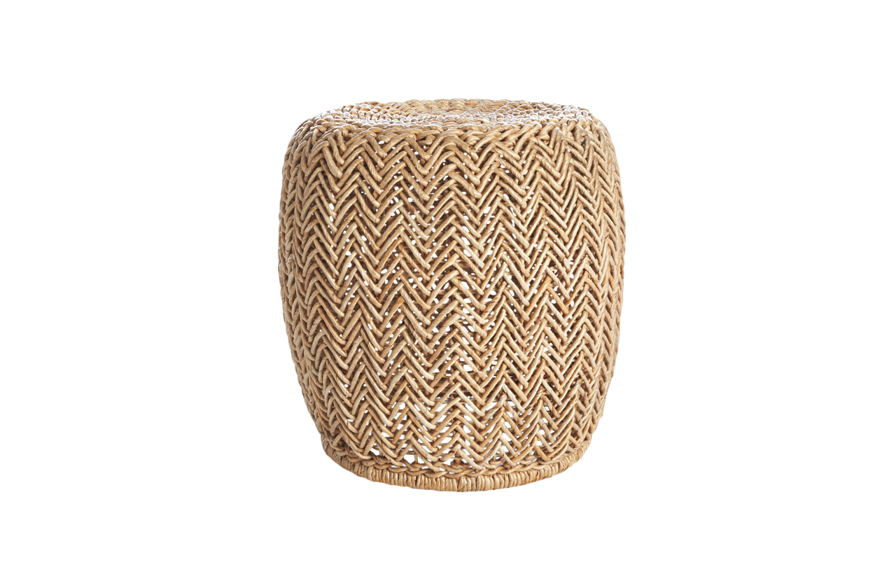 Izzy stool made of woven banana leaves and wrought iron