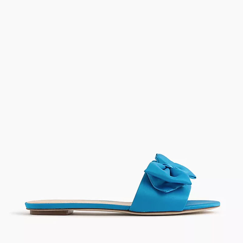 Satin Slide Sandals With Bow