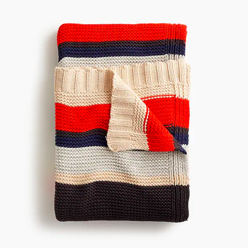 J.Crew striped throw blanket