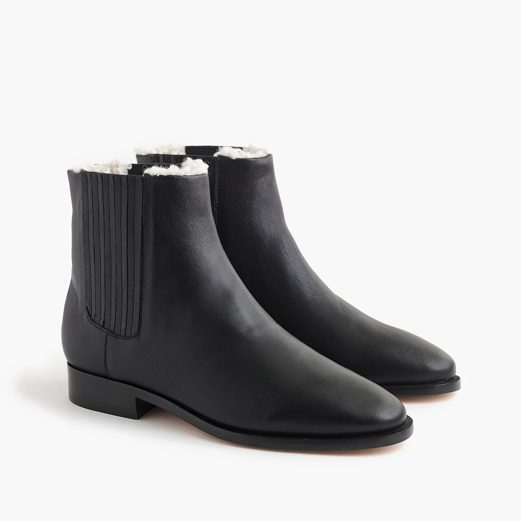 J.Crew black leather boots lined with sherpa