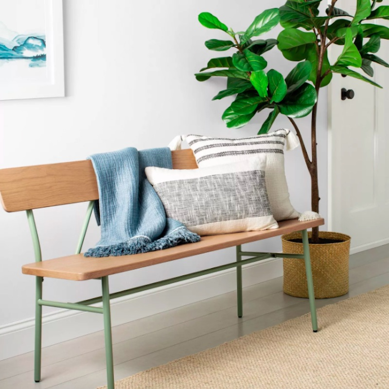Joanna Gaines for Target, Entryway Bench in wood and green