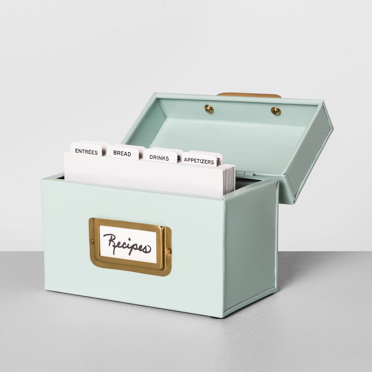 Mint green metal recipe box