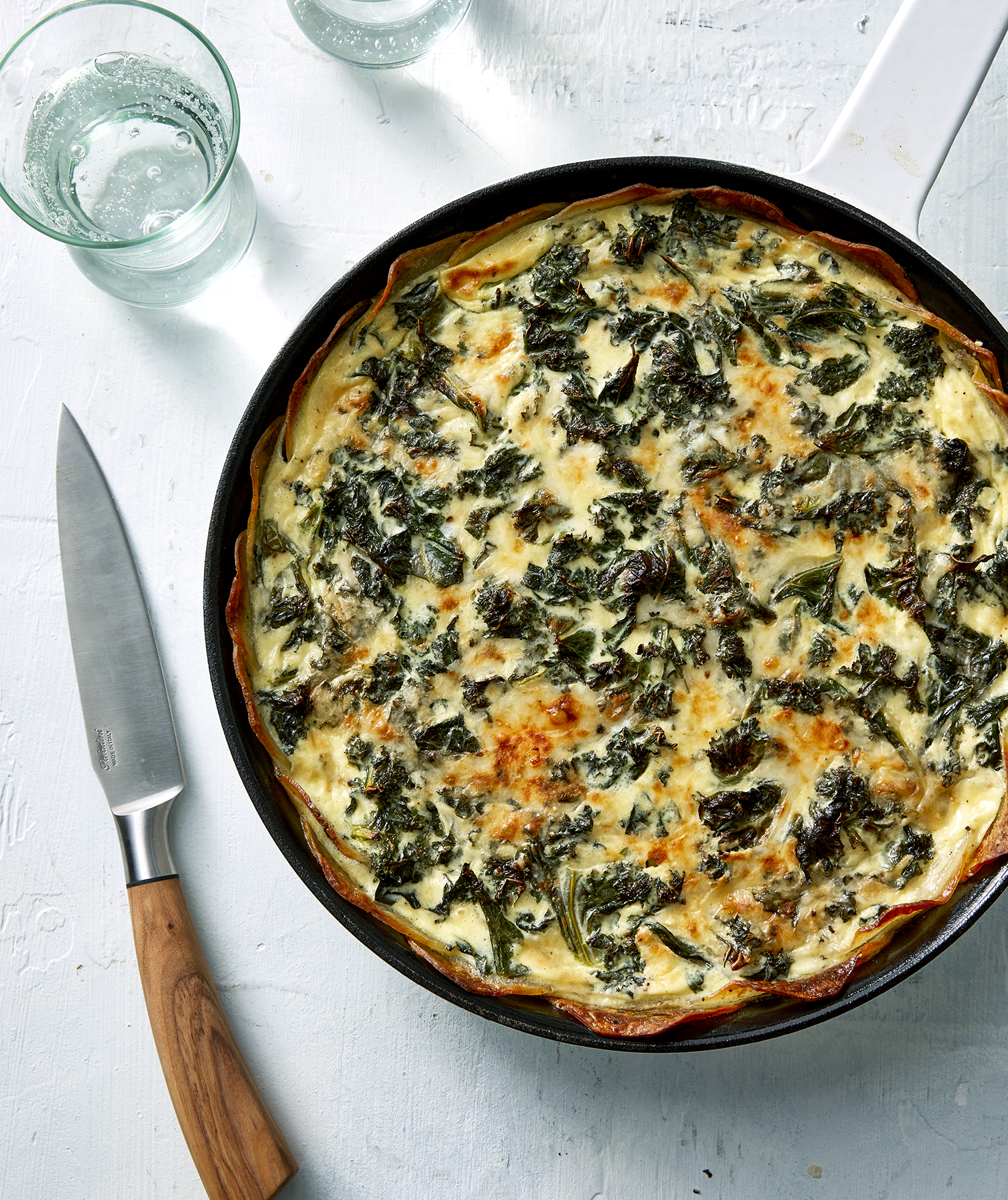 Kale and Fontina Quiche With Crispy Potato Crust