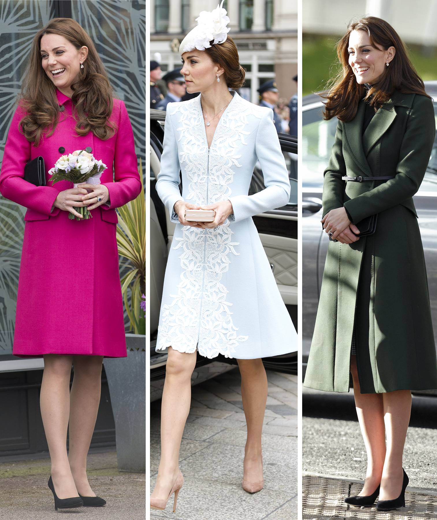 Kate Middleton wearing colorful coats