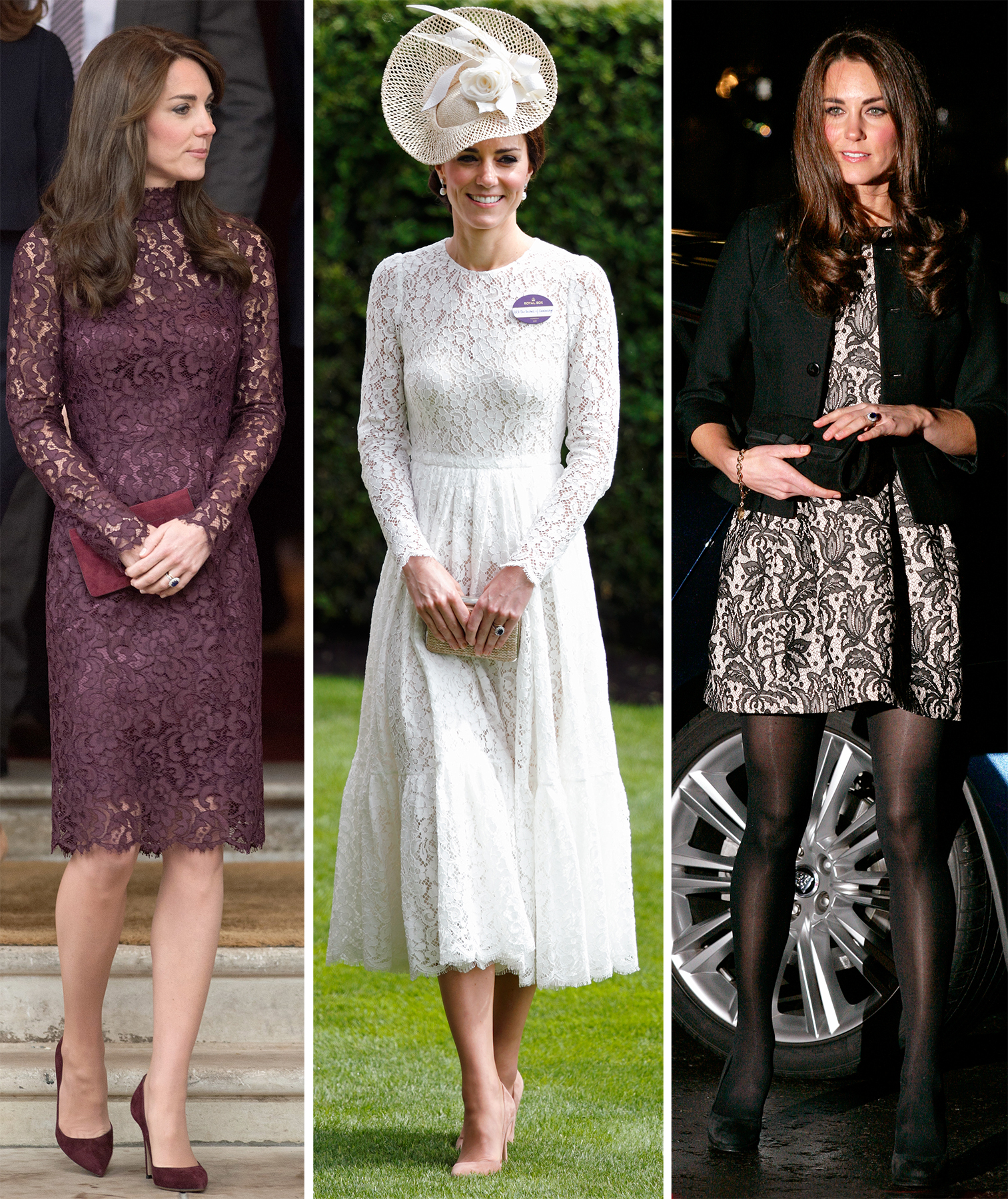 Kate Middleton wearing a lace cocktail dress