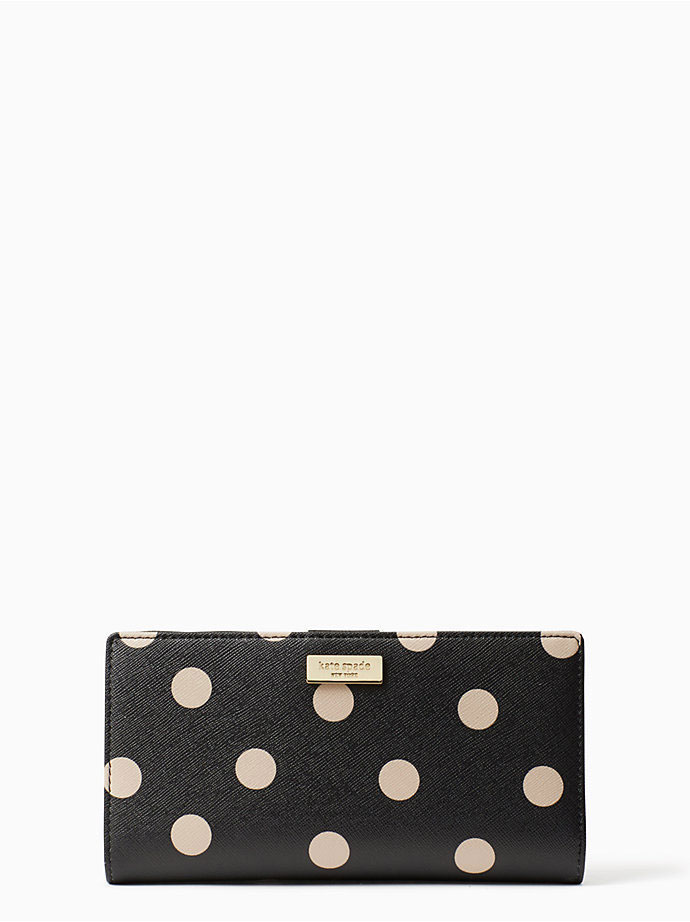 Kate Spade black and beige polka dot wallet