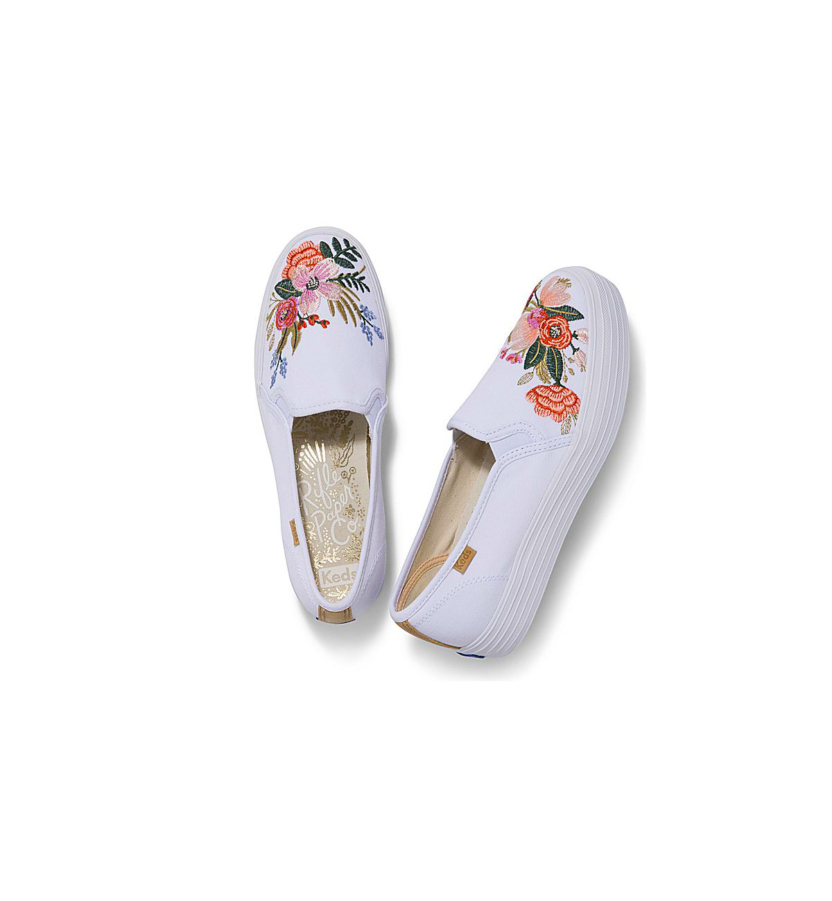 Triple Decker Lively Embroidery Slip-On Sneakers