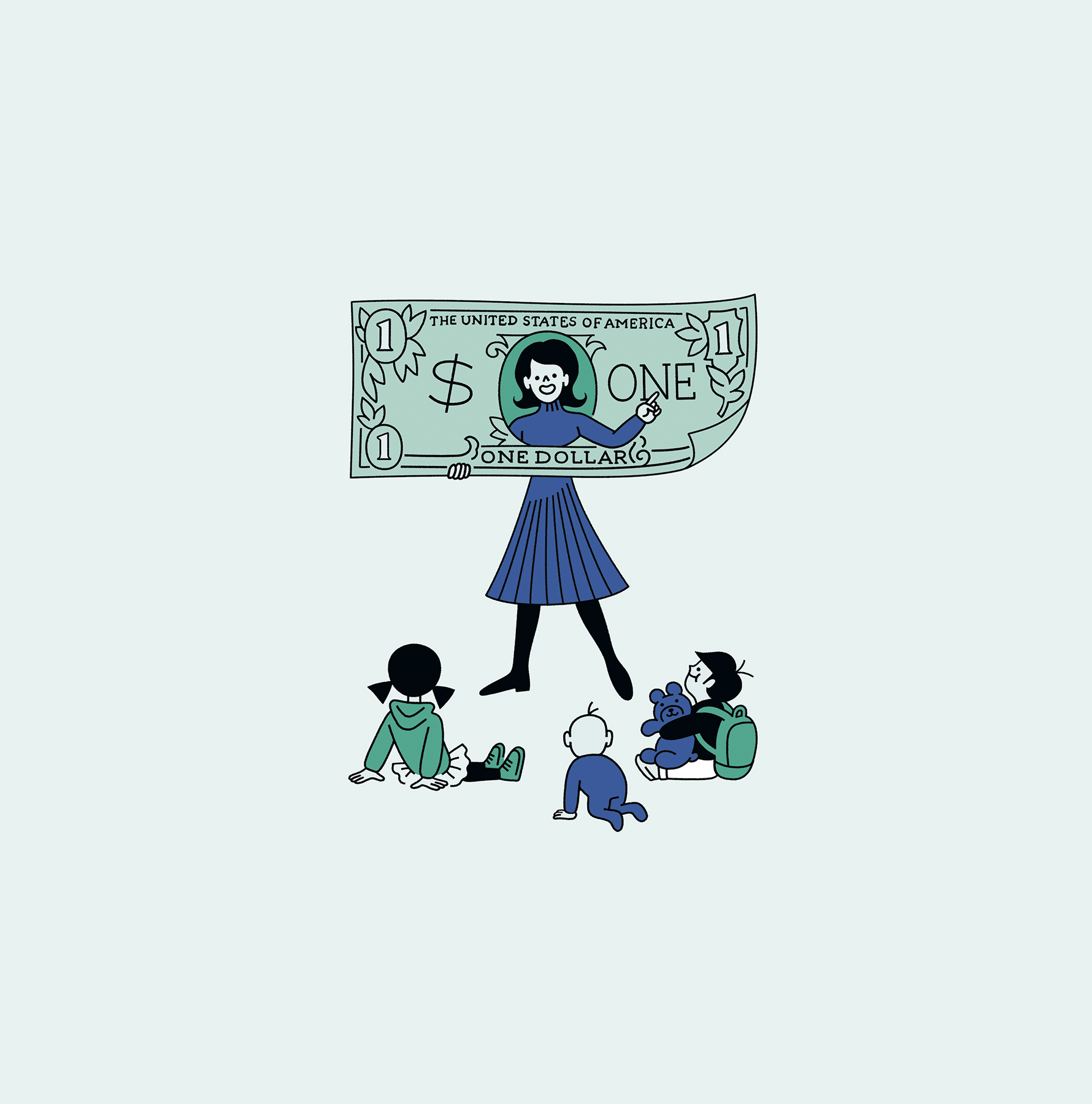 Illustration: Mom talking about money with kids