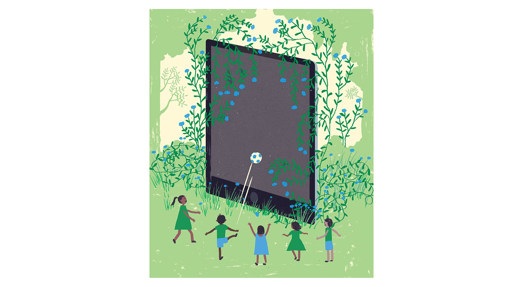 Illustration: kids playing soccer with a giant tablet screen