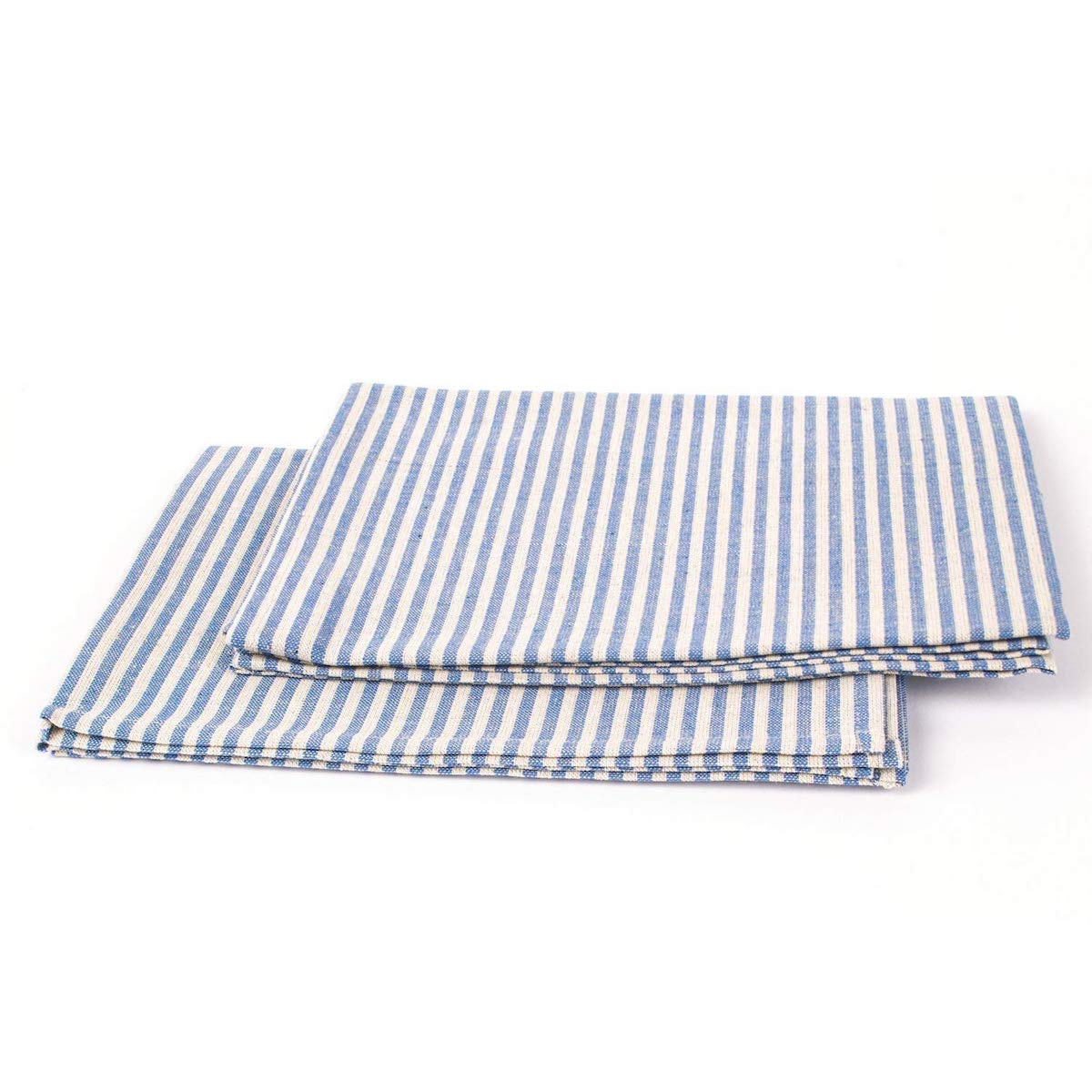 Kitchen Organizing Tea Towel, blue and white striped linen towels