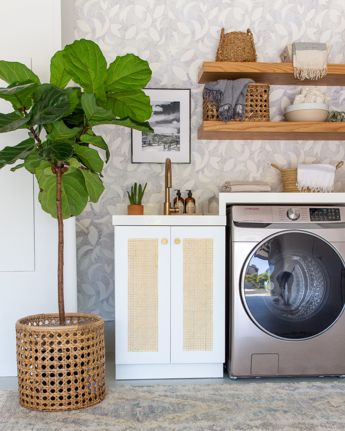 Beautiful laundry room with IKEA hack cabinet
