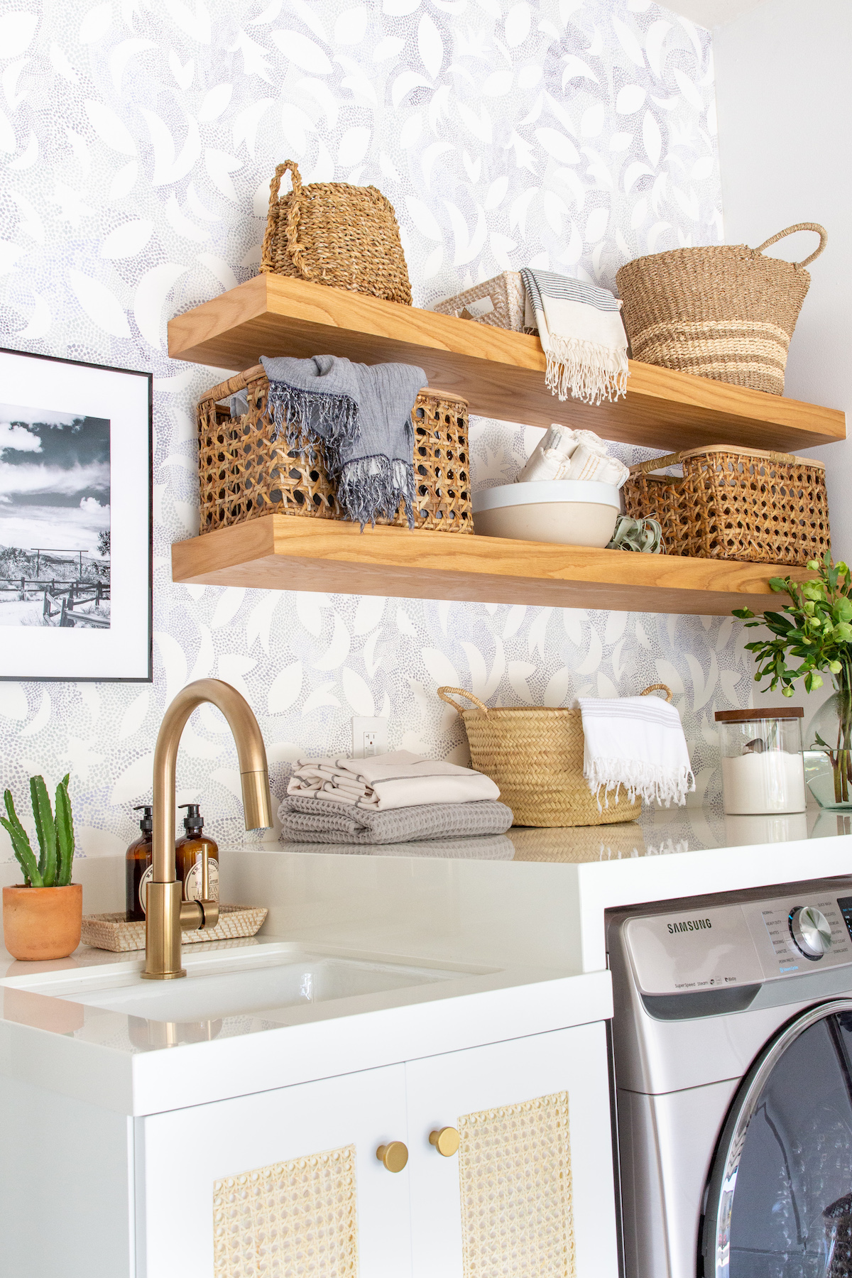 Laundry room makeover with open shelving