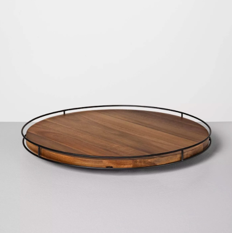 Wood and metal lazy susan tray