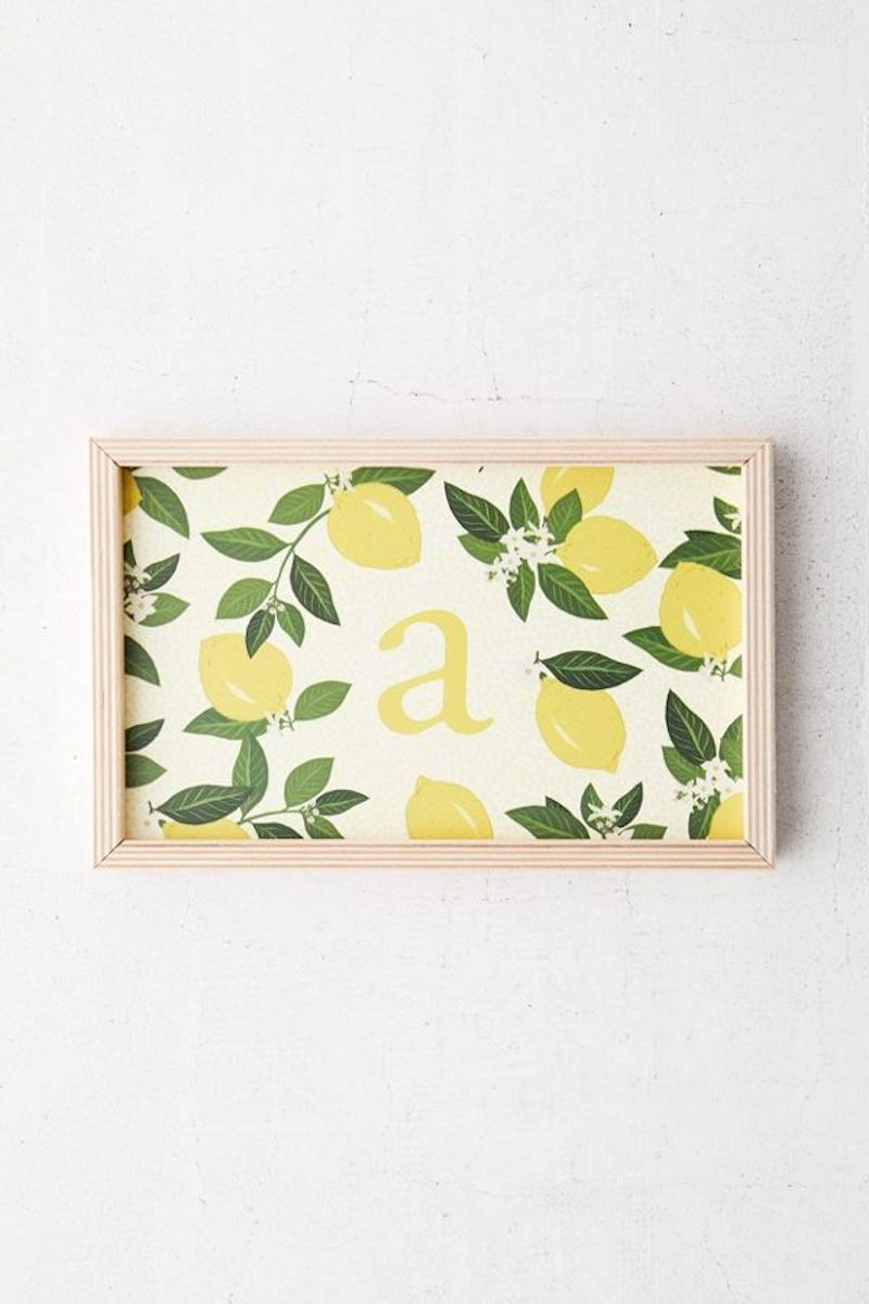 Monogrammed tray with lemons