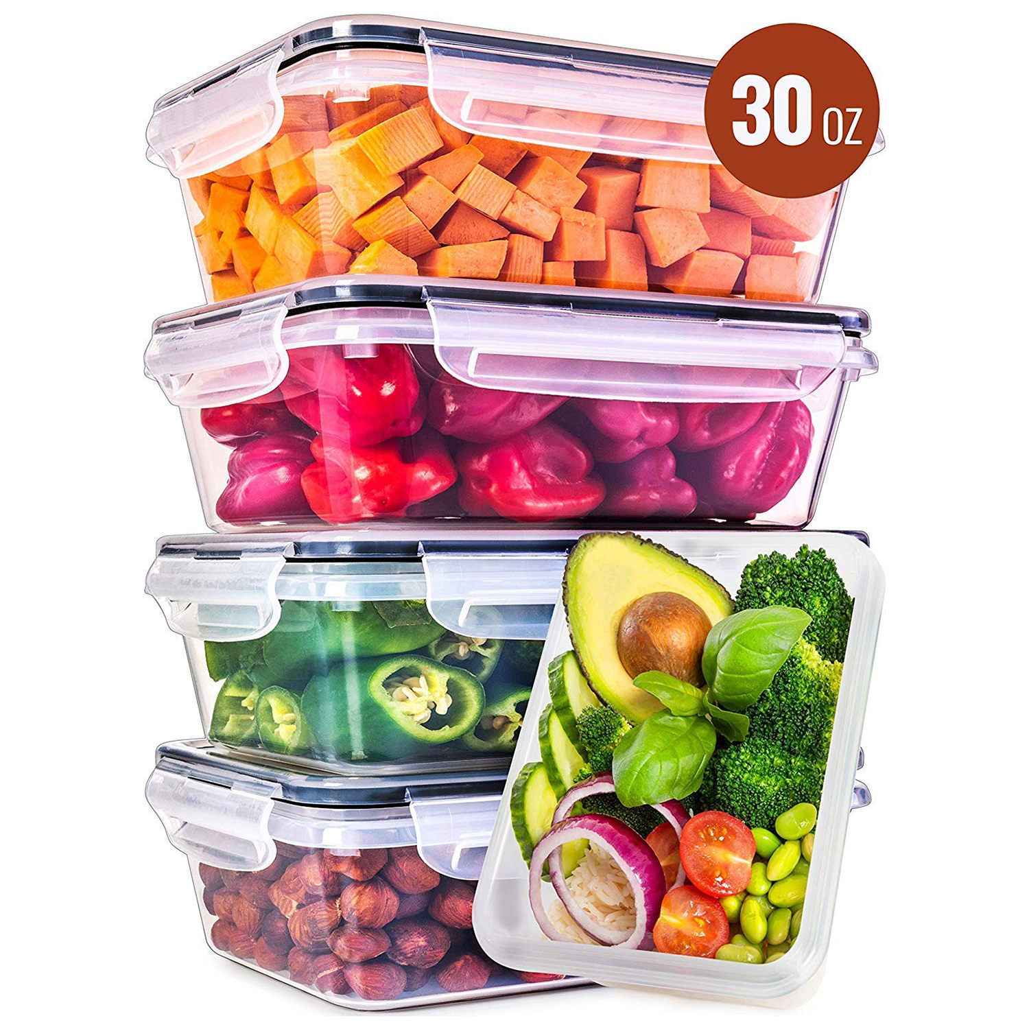 Lids Plastic Containers with Lids 5 Pack, 30 Ounce Leak Proof