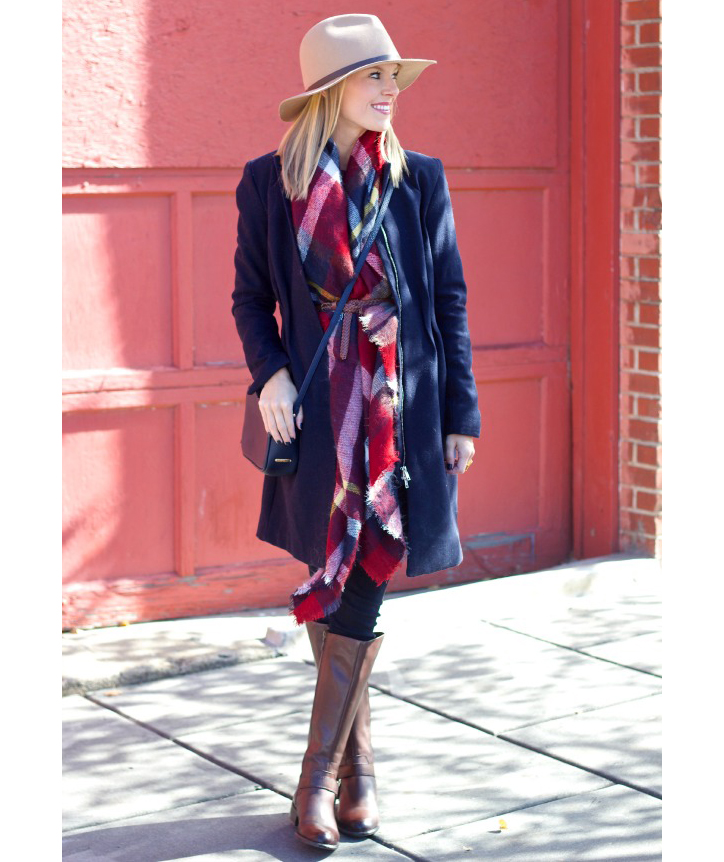 Blanket scarf belted with coat