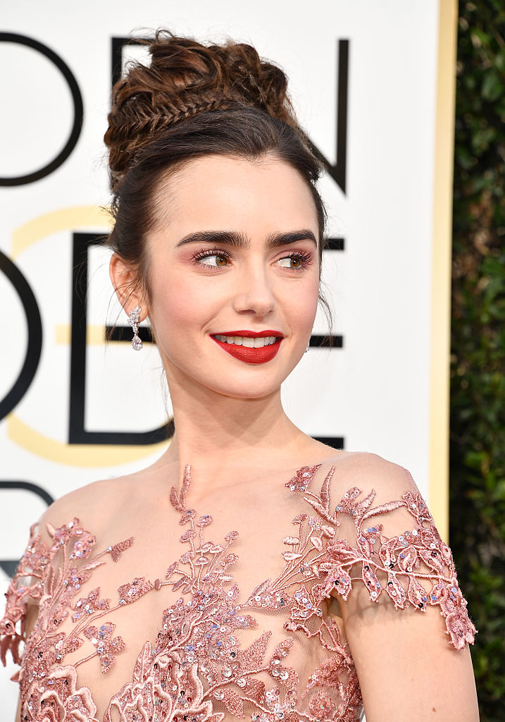 Lily Collins at the 74th Annual Golden Globe Awards