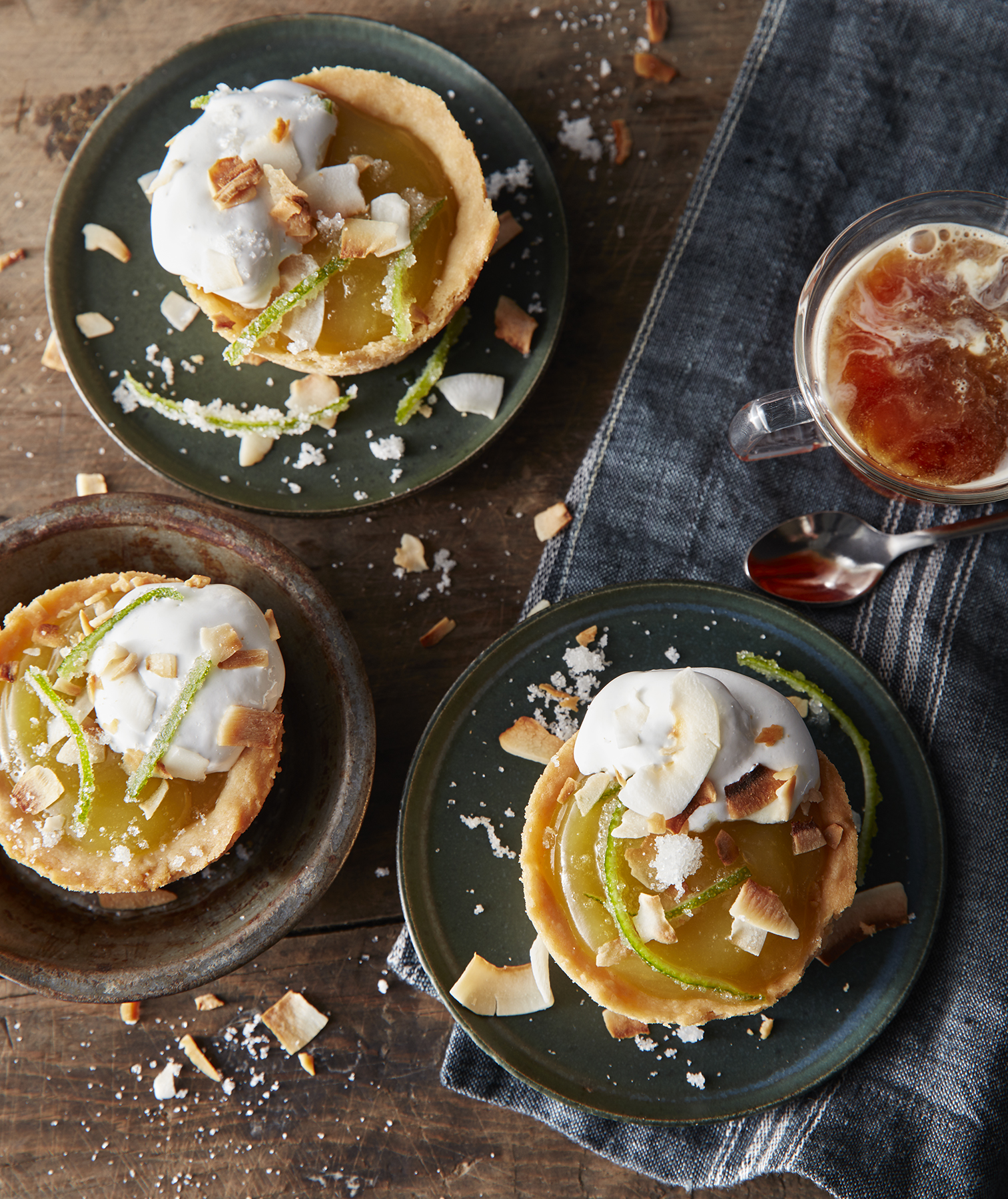 Lime Curd Mini Pies With Toasted-Marshmallow Coconut Cream