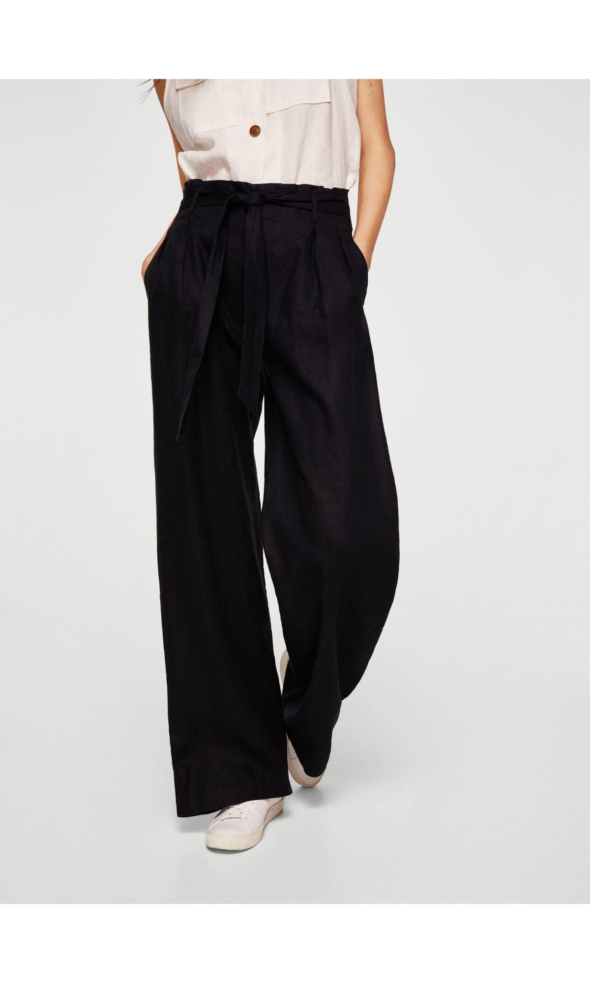 Mango Linen High-Waisted Trousers