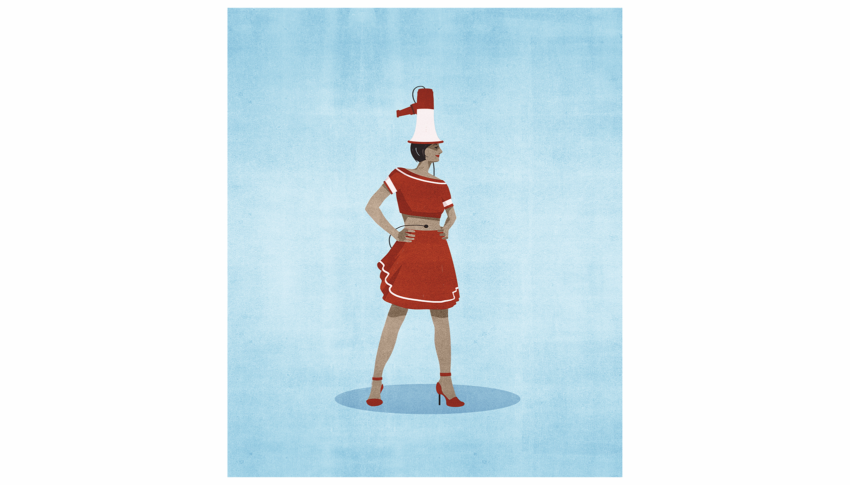 Illustration: woman with bullhorn broadcasting to her stomach