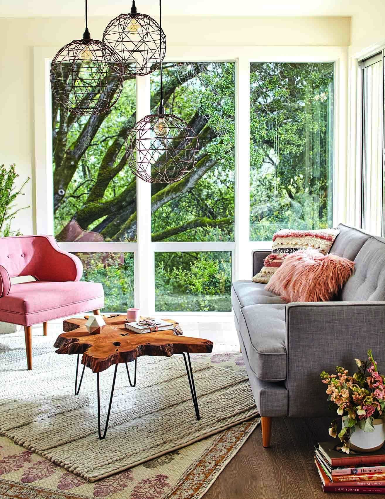Layered rug in living room