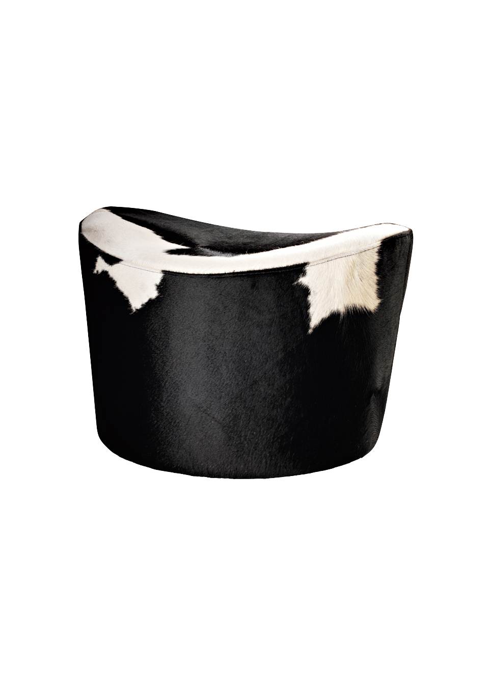 Stockholm footstool in natural cowhide leather