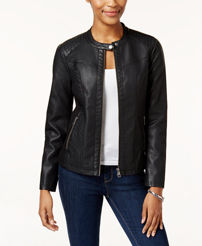 macys leather jacket