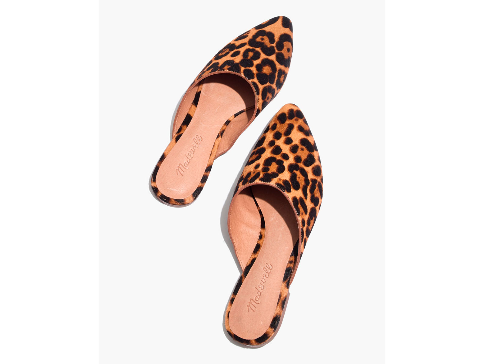 leopard pointed toe mule shoe