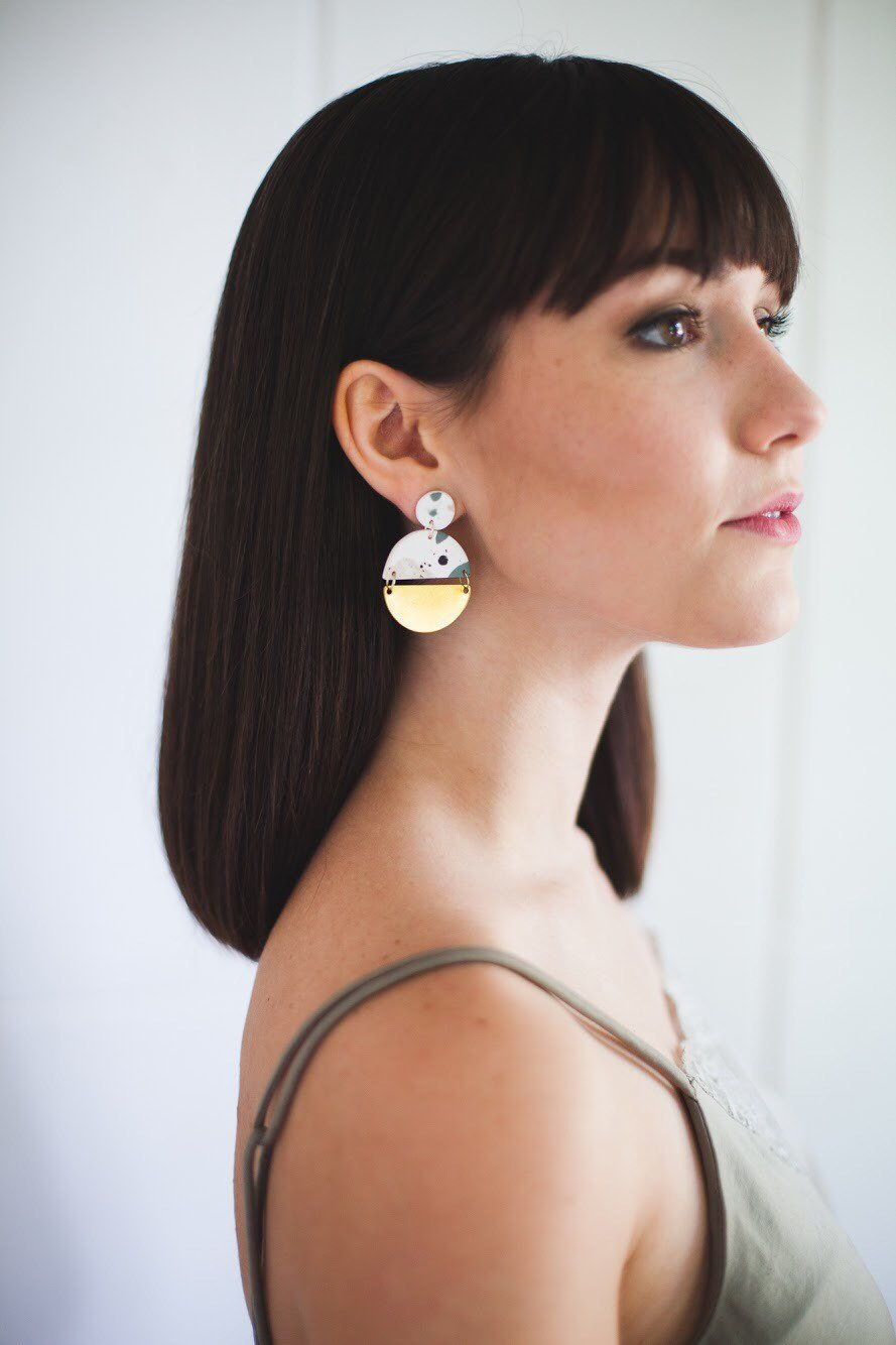 Terrazzo and brass modern earrings