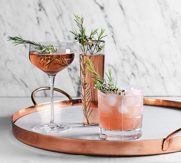 "Marble and Copper 19"" Serve Tray"