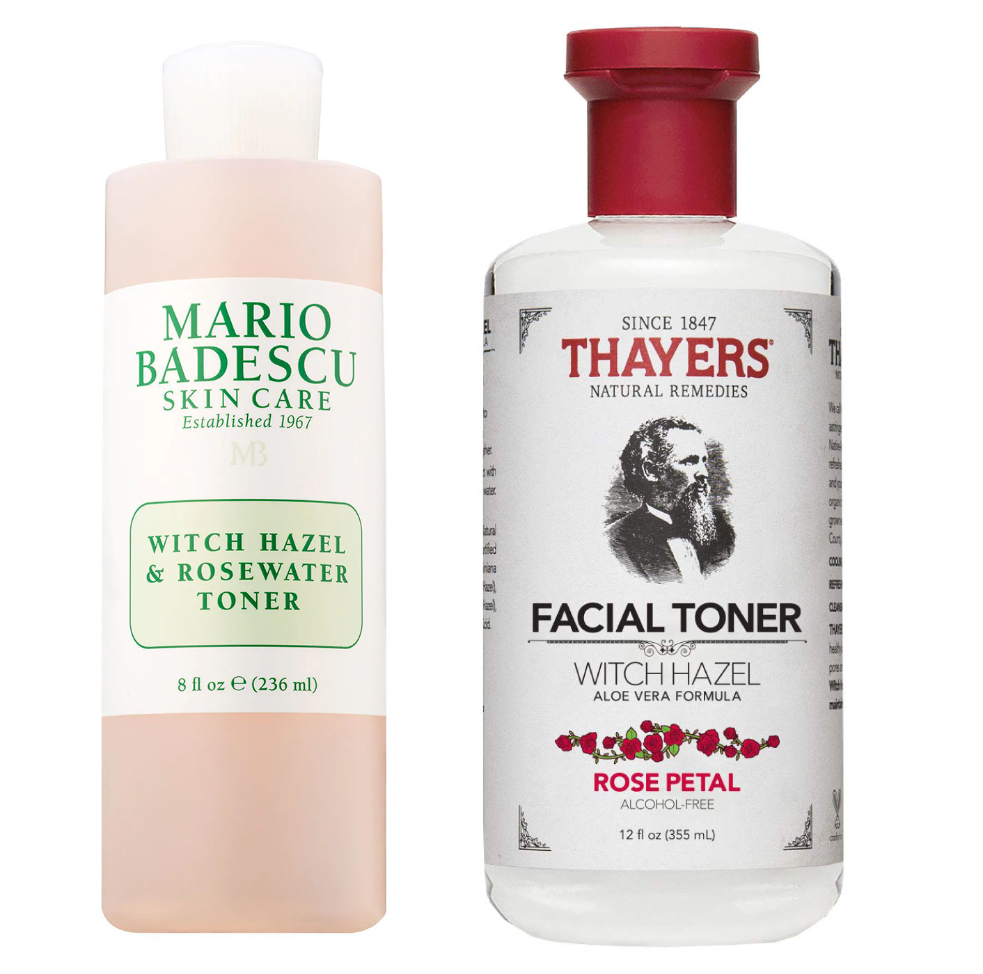 Mario Badescu Witch Hazel & Rosewater Toner vs. Thayers Alcohol-Free Rose Petal Witch Hazel Toner with Aloe Vera