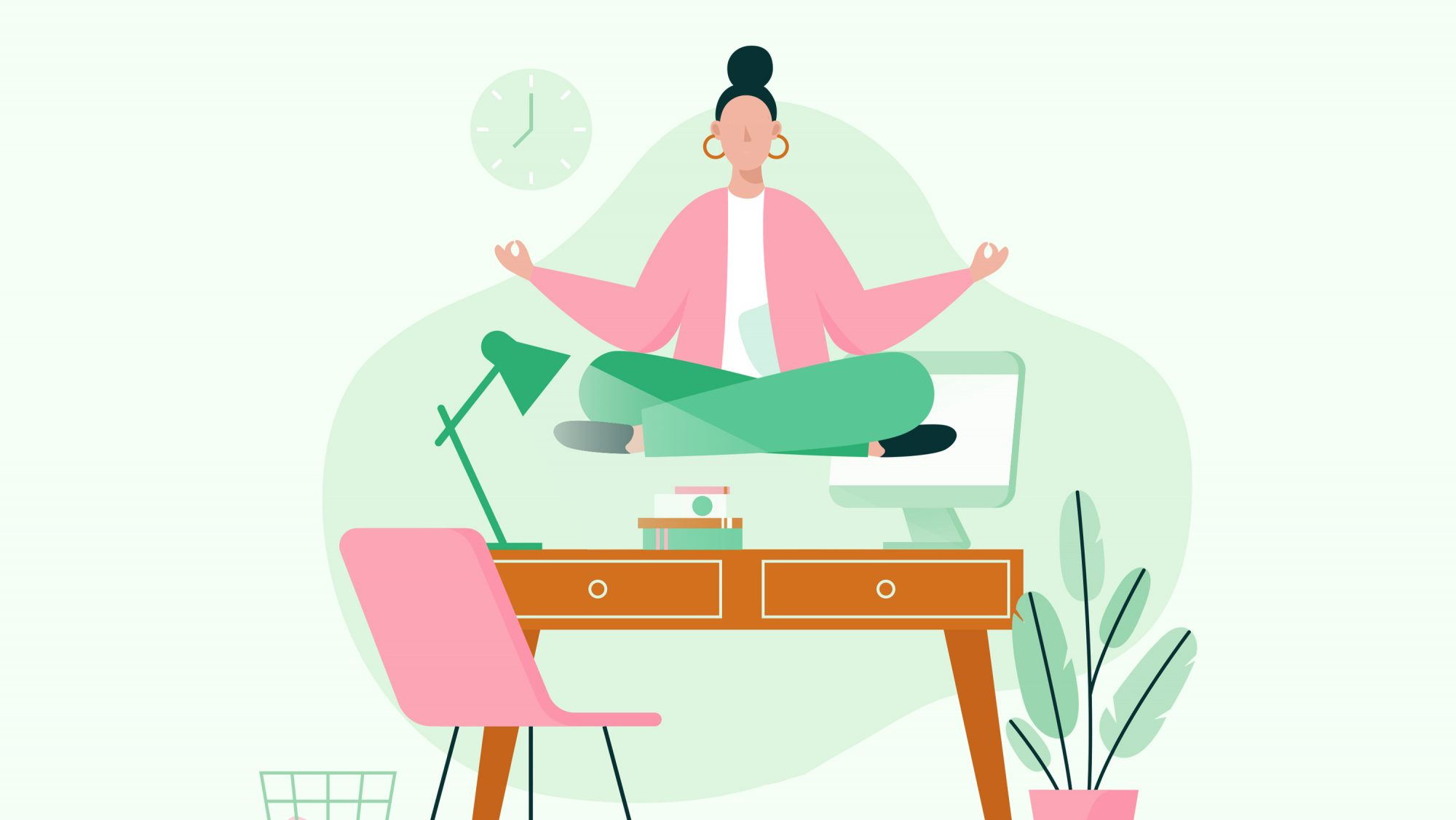 Why Mindfulness Is a Secret Weapon for Workplace Focus and Collaboration: illustration of woman meditating at work