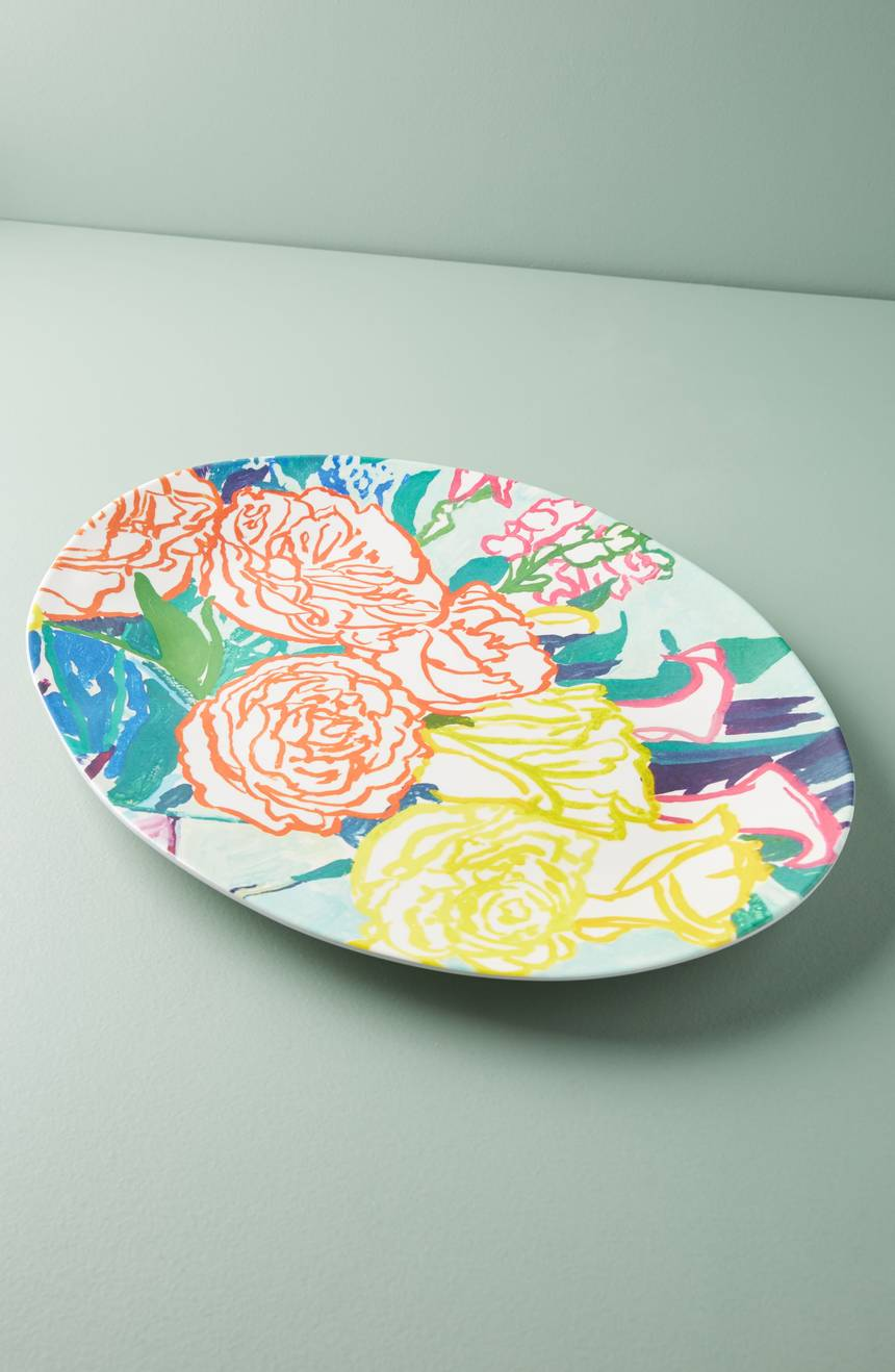 Floral Melamine Serving Tray