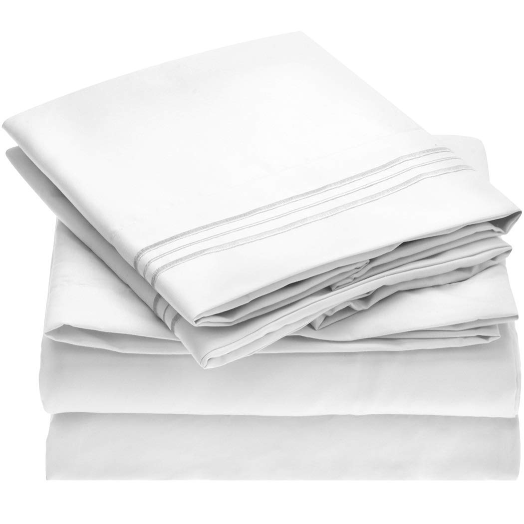 Mellanni Brushed Microfiber 1800 Hypoallergenic Four Piece Bed Sheet Set