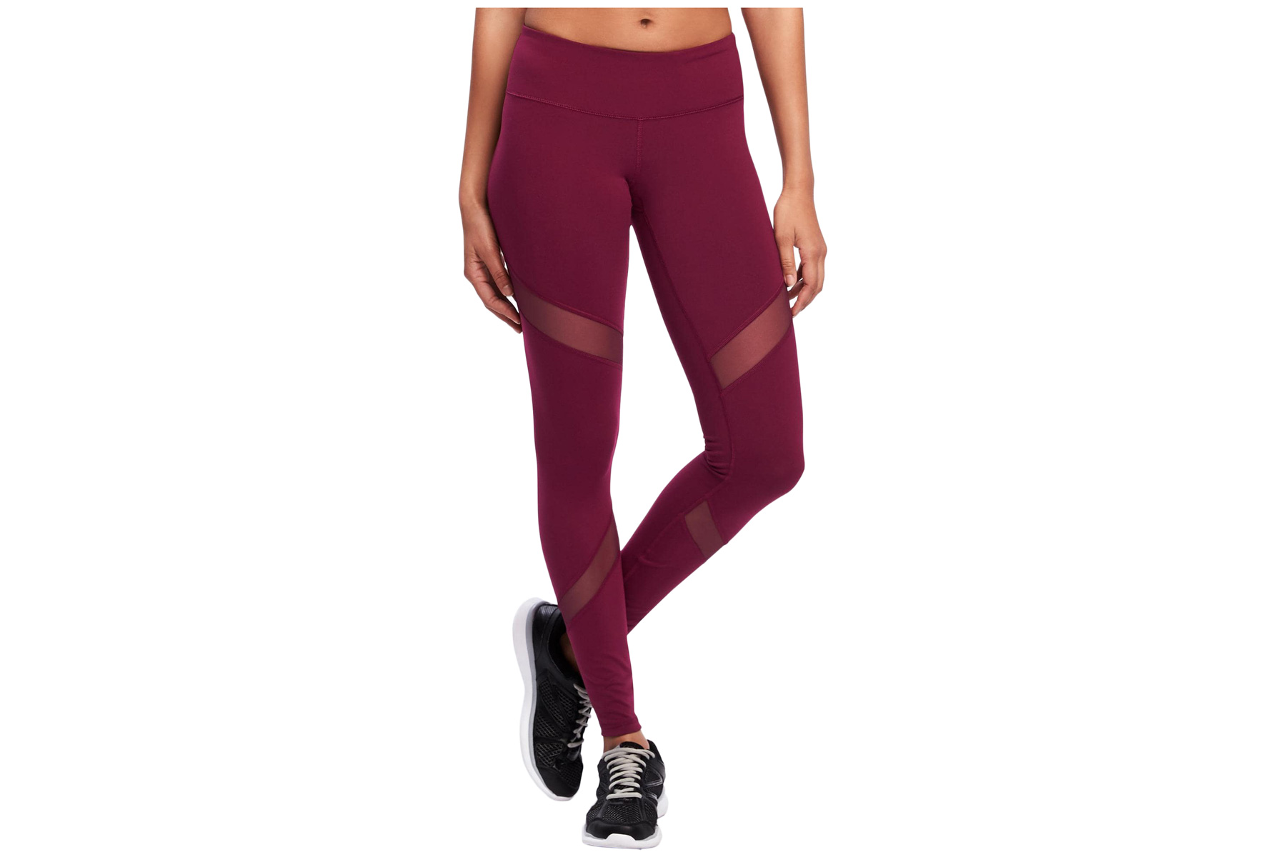 Go-Dry Mid-Rise Mesh-Panel Leggings for Women
