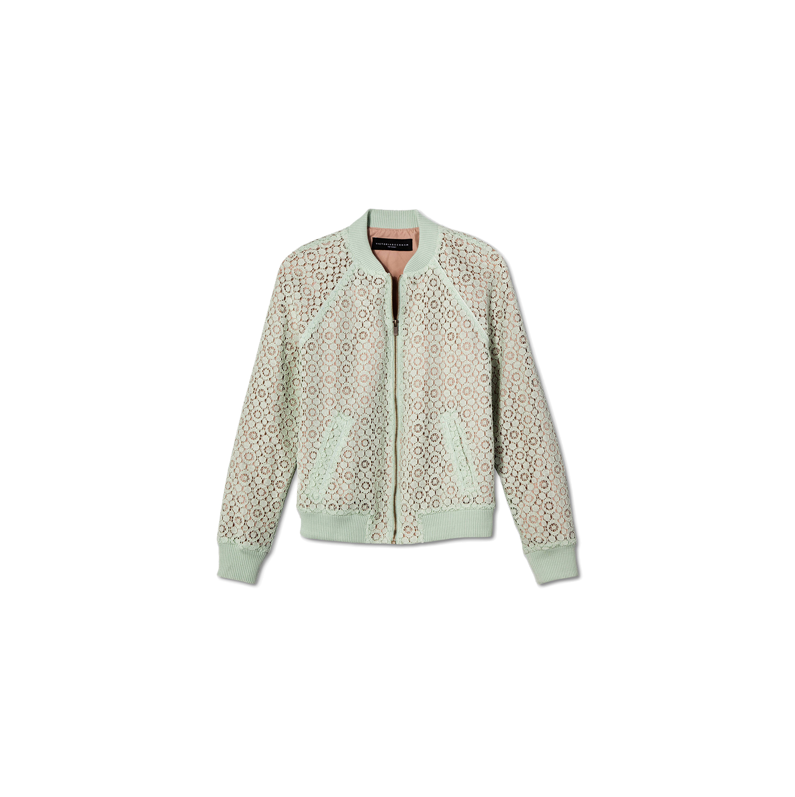 Mint Green Lace Bomber Jacket