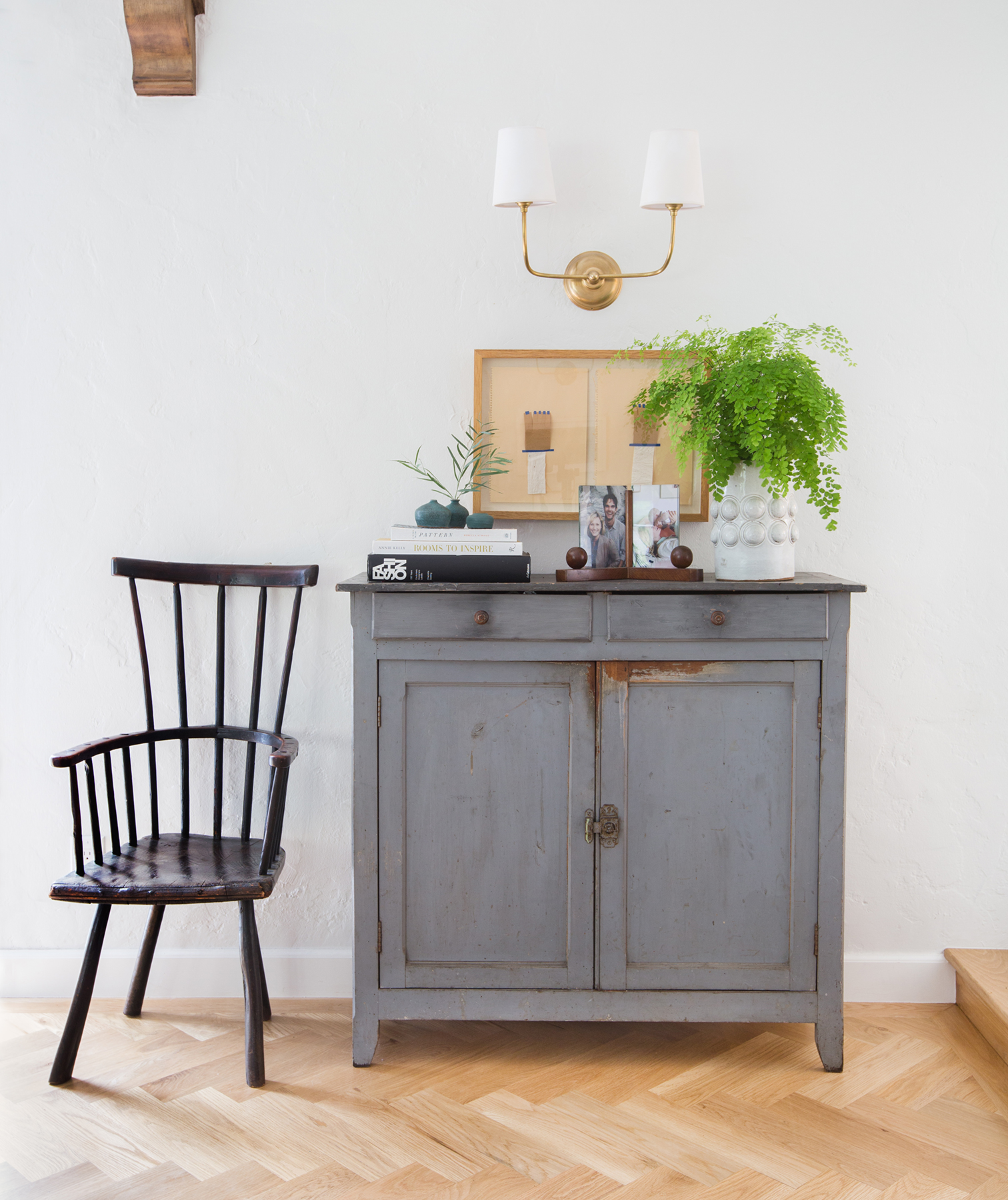 Emily Henderson Chair and French Blue Cabinet