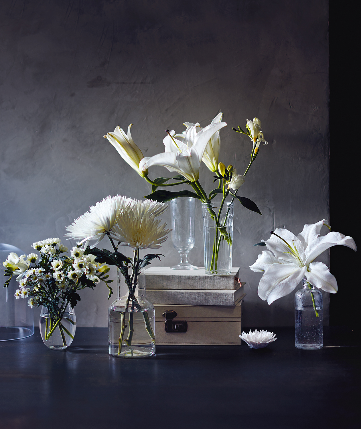 White flowers in vases