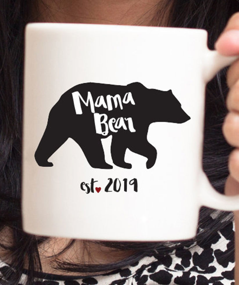 gifts for new moms: mama bear mug on etsy