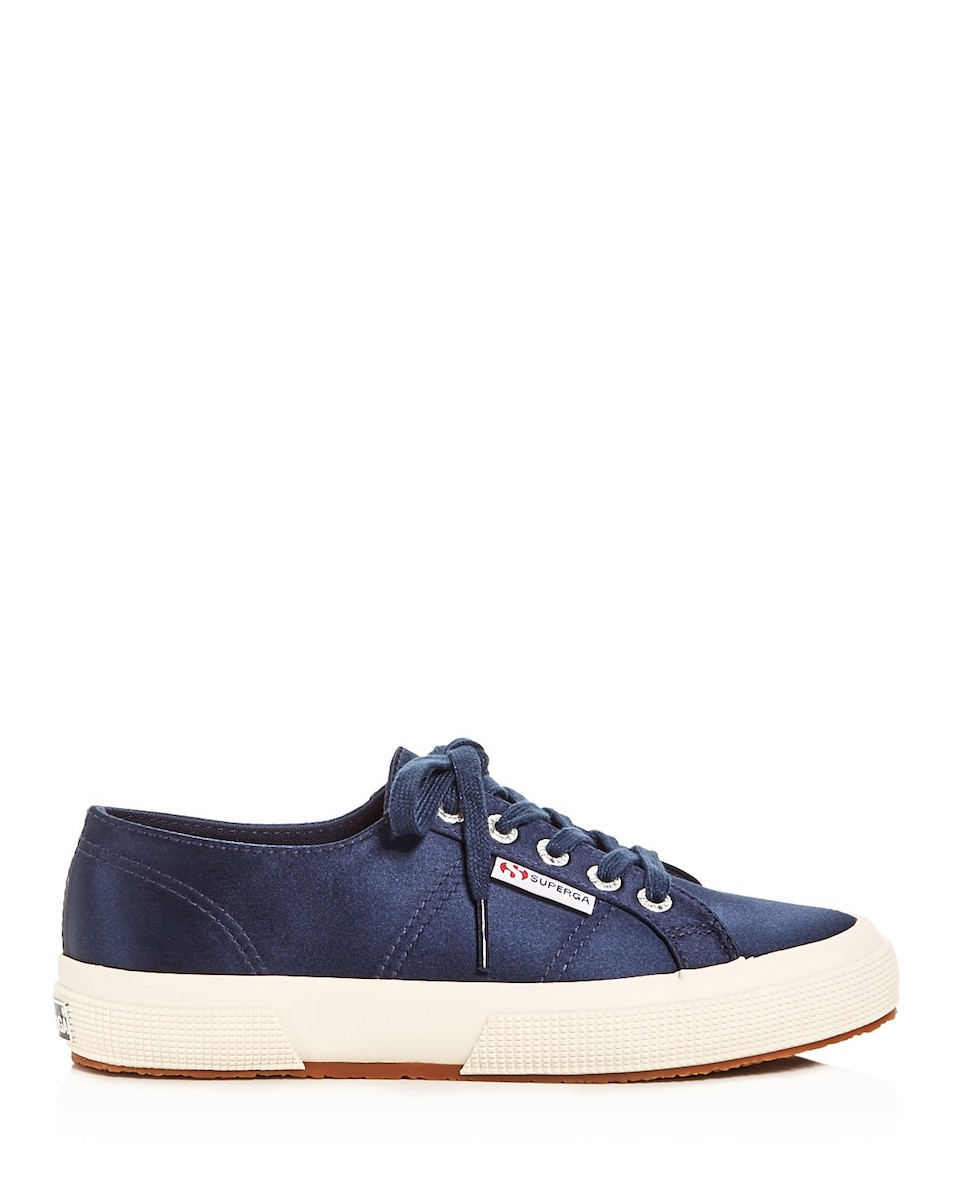 Superga Satin Lace-Up Sneaker, in Navy Blue