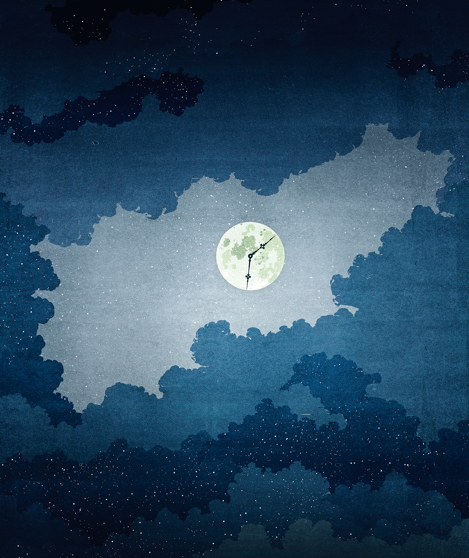 Illustration: moon with clock face