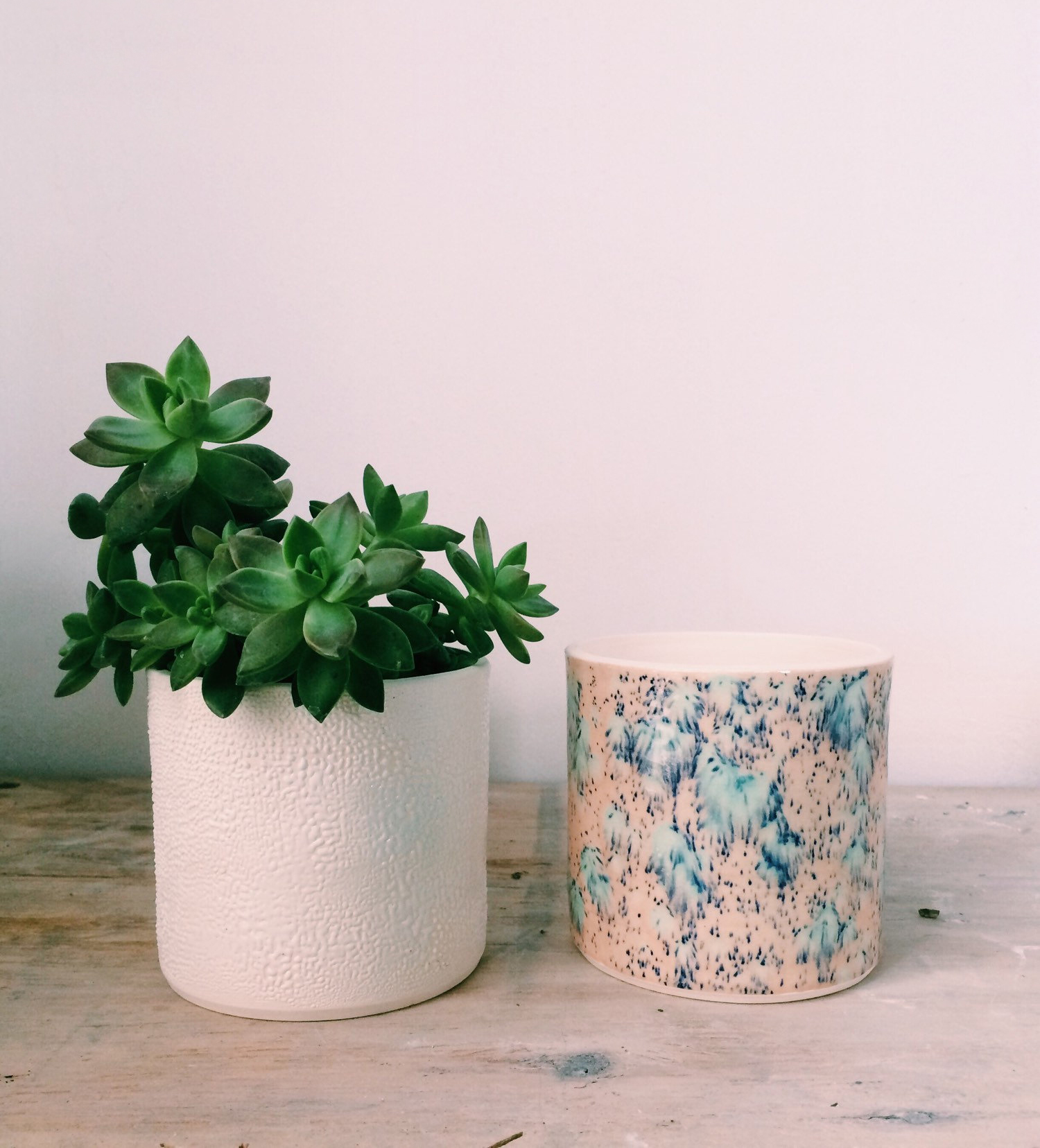 White and Speckled Planter