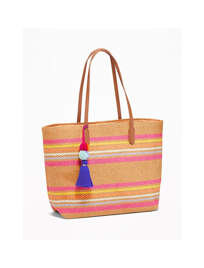 Old Navy Striped Straw Pom-Pom Tassel Tote