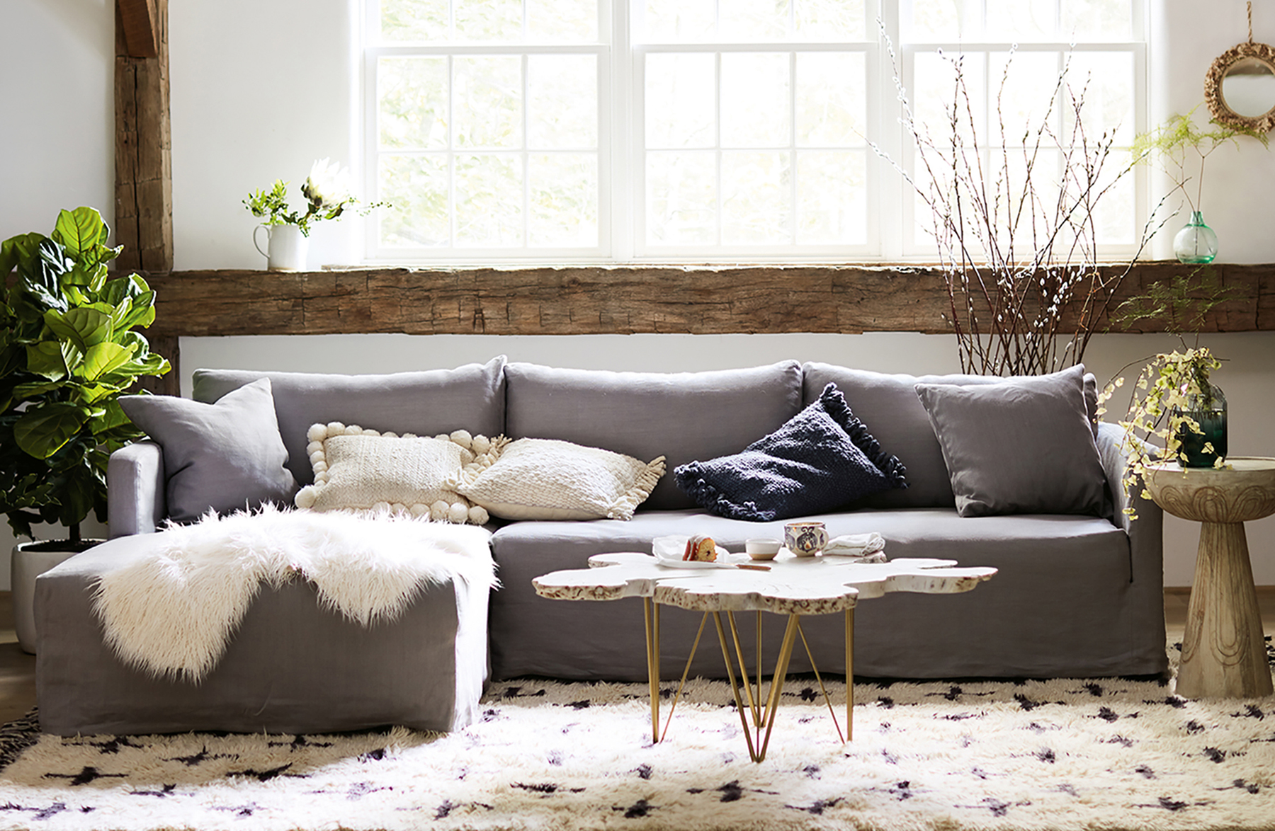 Rustic Olivia Chaise Sectional