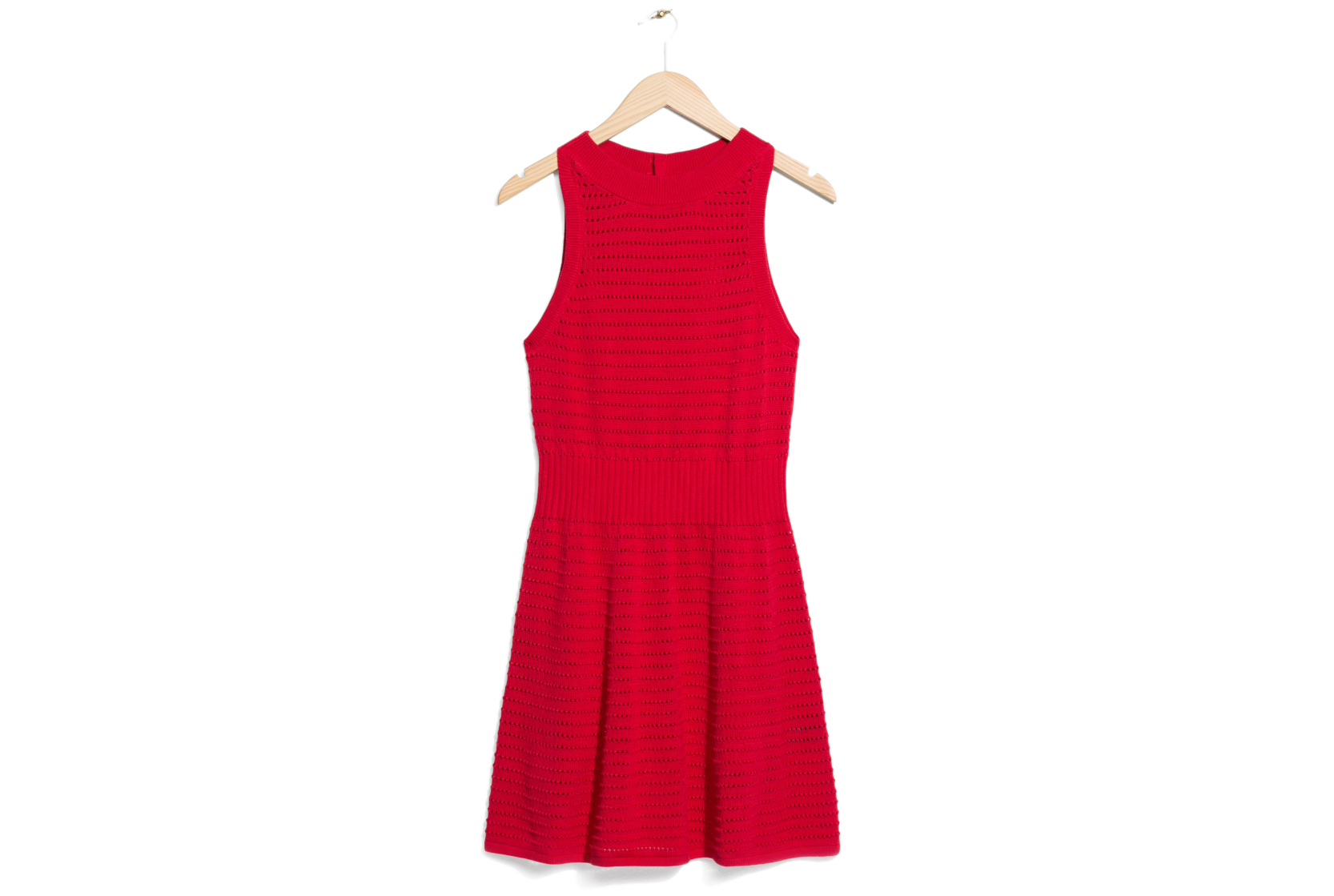 & Other Stories Pointelle Knit Dress in red