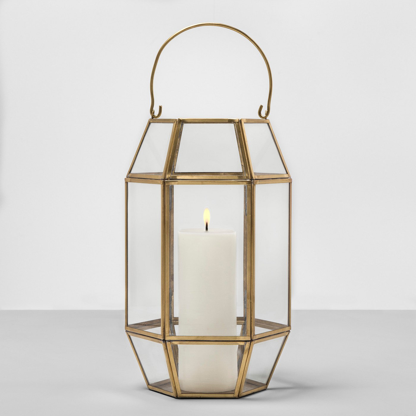 Outdoor Lantern Hexagon Glass with Gold Frame