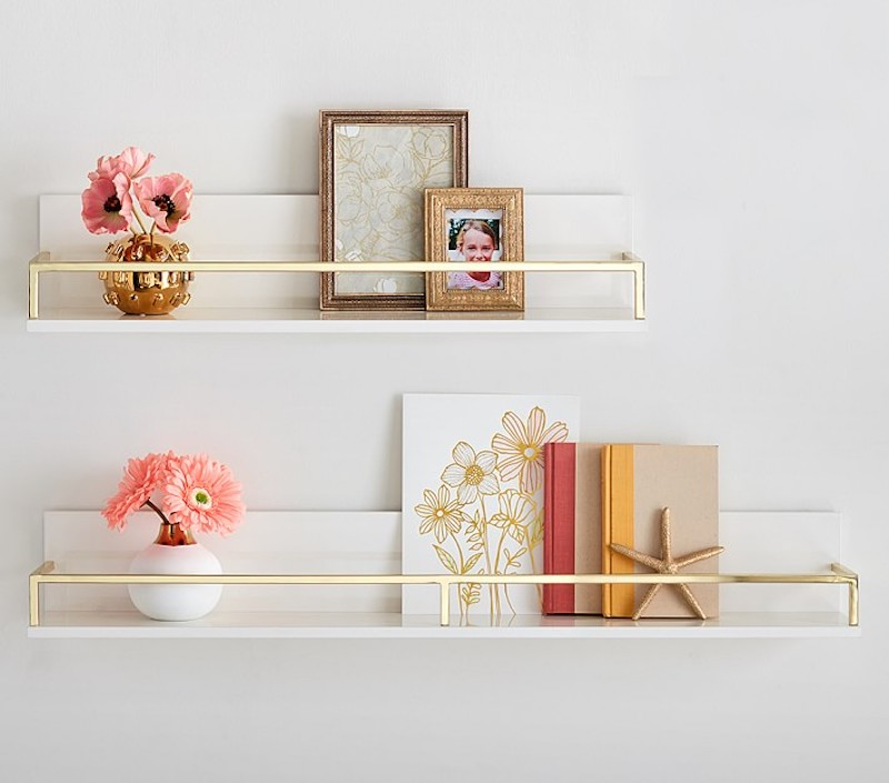 Over the Toilet Storage, White and Gold Shelves