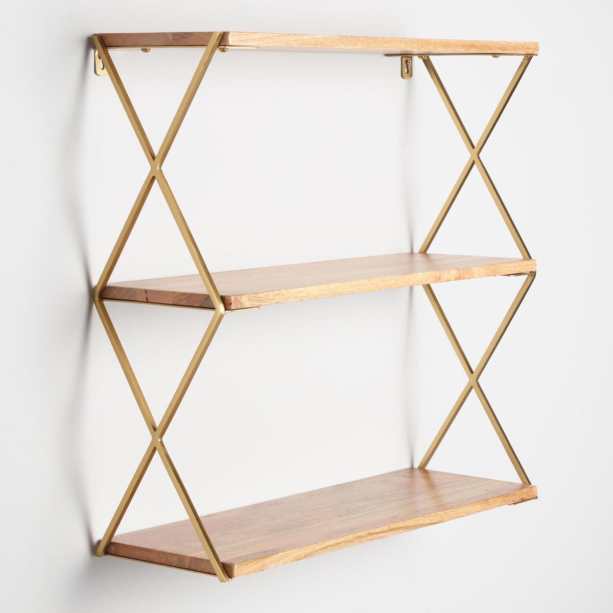 Gold and Wood Over the Toilet Shelving